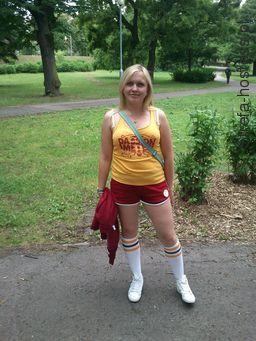 W stroju głównego sponsora euro 2012, przed akcją.